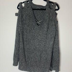Moral Fiber Open Shoulder V Neck Sweater 3X